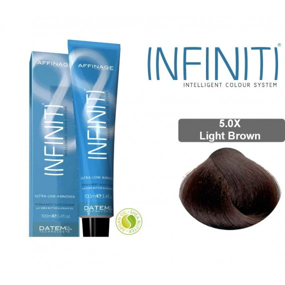 Βαφή μαλλιών INFINITI CREME 5.0X LIGHT BROWN 100ml - EXTRA GREY COVERAGE