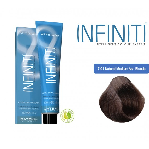 Βαφή μαλλιών INFINITI CREME 7.01 NATURAL MEDIUM ASH BLONDE 100ml